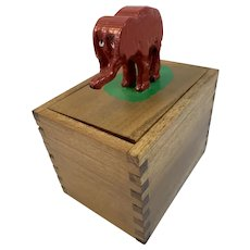 Whimsical Hand Carved Elephant Dovetailed Wood Box