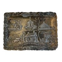 Embossed Gettysburg Metal Souvenir Tray AG Bosselman & Co New York Famous Battlefield Sights