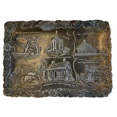Embossed Gettysburg Metal Souvenir Tray AG Bosselman & Co New York Famous Battlefield Sights