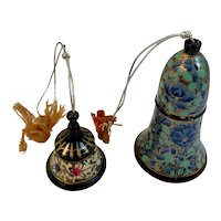 2 Lacquerware Bells Russian Lacquer Hand Painted Folk Art Russia