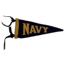Navy Felt Pennant Circa 1930-40s