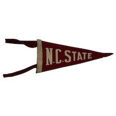 N. C. State Felt Pennant Circa 1930-40s North Carolina