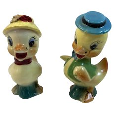 Whimsical Boy Girl Chick Salt and Pepper Shakers Japan Mid Century