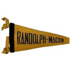 Randolph-Macon College Felt Pennant Circa 1930-40s