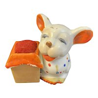 Polka Dot Puppy Dog 1930s Deco Bisque Pincushion Pin Cushion Japan