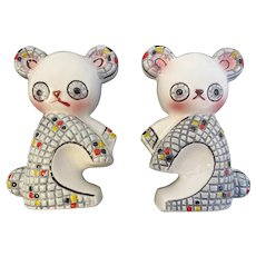 Relco Mosaic Koala Bear Salt and Pepper Shakers Made in Japan Hand Painted MCM Mid Century