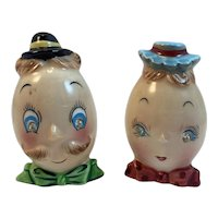 PY Anthropomorphic Egg Head Mrs and Mrs Salt and Pepper Shakers Vintage Rhinestone Eyes