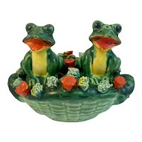 Empress Frogs in Flower Basket Salt and Pepper Shakers Made in Japan 3 Piece Set Spaghetti Trim