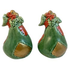 Christmas Pear Patchwork and Holly Salt and Pepper Shakers Vintage Japan