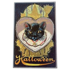 M L Jackson Halloween Postcard Charms of the Witching Hour Black Cat Gold Witch Owl Embossed