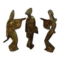 Dancing Geisha Women Painted Cast Iron Statues