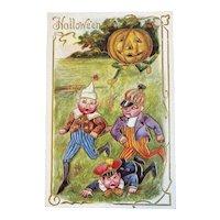 Unused Halloween Postcard JOL Chasing Boys Jack O Lantern Pumpkin Man Anthropomorphic Edwardian Era Embossed