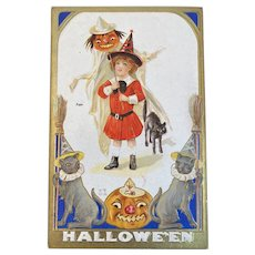 1913 Nash H15 Halloween Postcard Black Cats Wizard Hats JOL Jack O Lantern Ghost Pumpkin Head Girl Witch in Red Embossed