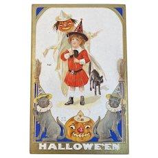 1913 Nash H15 Halloween Postcard Black Cats Wizard Hats JOL Jack O Lantern Ghost Pumpkin Head Girl Witch in Red Embossed