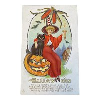 Stecher Litho Co Halloween Postcard Embossed Witch in Red Cloak Black Ct JOL Candle Glitter Corn 216A