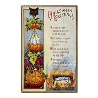October 31st Postmark Florence Bamberger Halloween Postcard JOL Black Cat Hanging Fruit Basket Jack O Lantern Embossed 31 1912