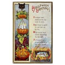 October 31st Postmark Florence Bamberger Halloween Postcard JOL Black Cat Hanging Fruit Basket Jack O Lantern Embossed 31 1912