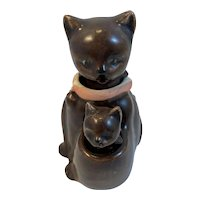 Mama and Baby Kitty Cat Nodder Salt and Pepper Shakers Vintage Kangaroo Style