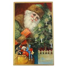German Green Robe Santa Postcard Candle Lit Tree Sack of Toys Old World Belsnickle Germany Unused