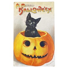 1921 Signed Clapsaddle Halloween Postcard International Art Publishing Co IAP Black Cat JOL Jack O Lantern 1237