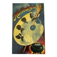 Unused Signed Clapsaddle Halloween Postcard International Art Publishing Co IAP The Black Art Palette Cauldron Broomstick Witchcraft Silhouettes