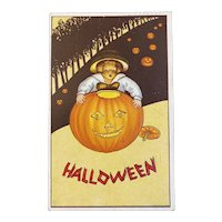 James E Pitts JEP Halloween Postcard Boy Hugging Jack O Lantern JOL