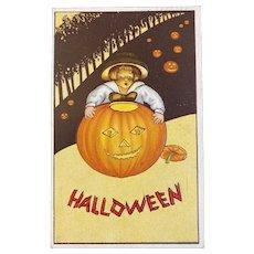 James E Pitts JEP Halloween Postcard Boy Hugging Jack O Lantern JOL