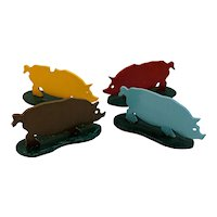 Set of 4 Hand Painted Wooden Pigs