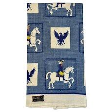 Unused Kay Dee Hand Printed Linen Tea Towel Colonial Rider Patriotic American Eagle Vintage Kitchen