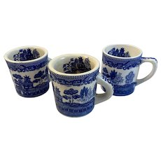 3 Blue Willow Coffee Mugs Cups Pattern Inside