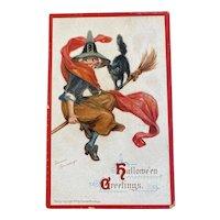 1910 Signed Frances Brundage Halloween Postcard Witch on Broom Black Cat 120 Embossed Printed in Germany