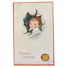 1910 Frances Brundage Signed Halloween Linen Postcard Boy with Black Cat Embossed Germany German