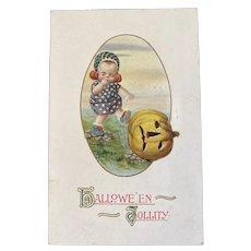 Jason Freixas Halloween Jollity Postcard Baby Kicking JOL Hack O Lantern