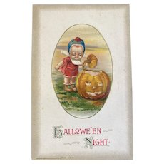 1915 Unused Winsch and J Freixas Halloween Night Postcard Baby Opening Carved JOL Jack O Lantern Germany