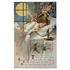 1911 John Winsch Samuel Schmucker Halloween Time Postcard Lady Sleeping Fairies Goblins Embossed Germany