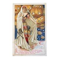 1912 John Winsch Samuel Schmucker The Magic Halloween Postcard Ghost Lady JOL Jack O Lanterns Embossed Germany