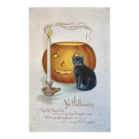 Unused Nash H18 Halloween Postcard Black Cat Candle JOL Jack O Lantern Embossed