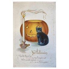 Unused Nash H18 Halloween Postcard Black Cat Candle JOL Jack O Lantern Embossed