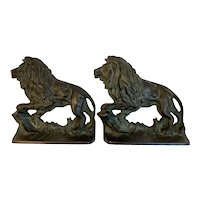 1930 Creation Co Majestic Lion Cast Iron Book Ends Bookends