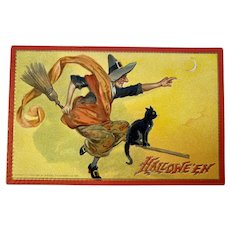 Tuck Hallowe'en Postcard Series 174 Witch Flying on Broom Black Cat Embossed Tuck's Raphael Tuck & Sons Halloween