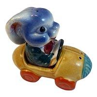 Bunny Rabbit Driving Race Car Salt and Pepper Shakers Vintage Japan