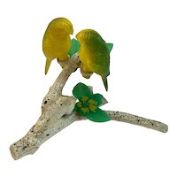 Lovebirds on Branch Salt and Pepper Shakers Hard Plastic Parakeets Parrots Birds Vintage
