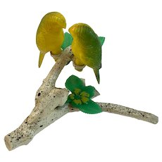 Lovebirds on Branch Salt and Pepper Shakers Hard Plastic Parakeets Parrots Birds Vintage
