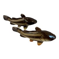 Relco Bullhead Fish Salt and Pepper Shakers Made in Japan Hand Painted MCM Mid Century