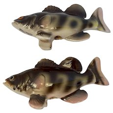Relco Small Mouth Black Bass Fish Salt and Pepper Shakers Made in Japan Hand Painted MCM Mid Century