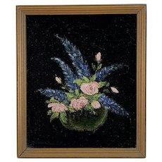 Floral Oil Painting on Black Velvet