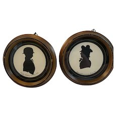 Pair of Pen and Ink Silhouettes of Young Boys