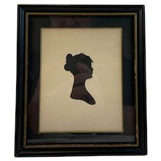 Pen and Ink Silhouette of Young Woman