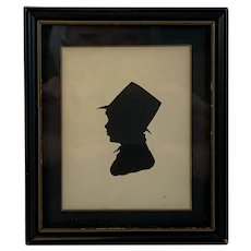 Pen and Ink Silhouette of Young Boy