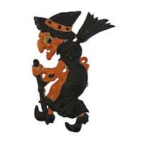German Halloween Witch with Broom Pressed or Embossed Die Cut Cardboard Germany Hanging Decoration